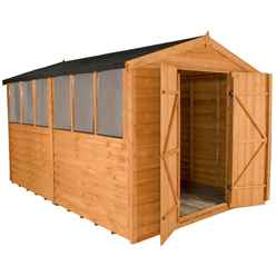 12 x 8 Select Overlap Apex Wooden Garden Shed With 6 Windows And Double Doors - Assembled
