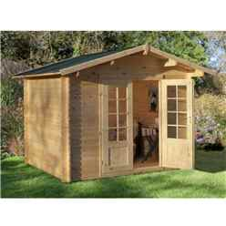 3.0m x 2.5m Log Cabin With Double Doors - 28mm Wall Thickness - INSTALLED **Includes Free Shingles**
