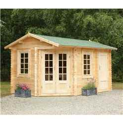 4.0m x 2.8m Corner Log Cabin With Glazed Double Doors - 34mm Wall Thickness - INSTALLED **Includes Free Shingles**
