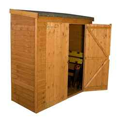 "INSTALLED 6 x 2' 6"" Overlap Value Wooden Pent Storage Wooden Garden Shed with Double Doors (10mm Solid OSB Floor) - INCLUDES INSTALLATION"