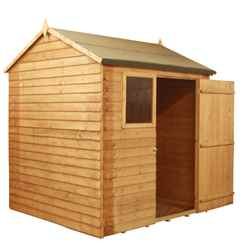 INSTALLED 6 x 6 Value Reverse Wooden Overlap Apex Shed With 1 Window And Single Door (10mm Solid OSB Floor) - INCLUDES INSTALLATION