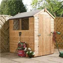 INSTALLED 6 x 4 Tongue and Groove Apex Wooden Garden Shed With 2 Windows And Single Door (10mm Solid OSB Floor) - INCLUDES INSTALLATION