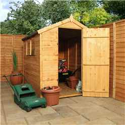 INSTALLED 7 x 5 Tongue and Groove Apex Wooden Garden Shed With 2 Windows And Single Door (10mm Solid OSB Floor) - INCLUDES INSTALLATION