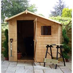 INSTALLED 7 x 7 Tongue and Groove Offset Wooden Apex Garden Shed With 1 Window And Single Door (10mm Solid OSB Floor and Roof) - INCLUDES INSTALLATION