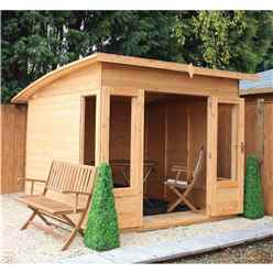 INSTALLED 10 x 8 Premier Curved Pent Wooden Garden Summerhouse (12mm Tongue and Groove Floor and Roof) - INCLUDES INSTALLATION