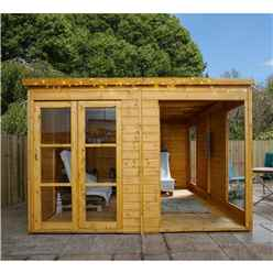 INSTALLED 10 x 10 Premier Pent Wooden Garden Summerhouse (12mm Tongue and Groove Floor and Roof) - INCLUDES INSTALLATION
