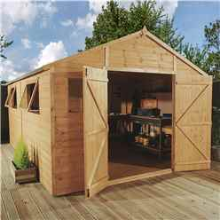 INSTALLED 12 x 10 Deluxe Tongue and Groove Wooden Garden Workshop With 4 Windows And Double Doors (12mm Tongue and Groove Floor and Roof) - INCLUDES INSTALLATION