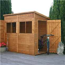INSTALLED 8 x 4 Pent Premier Wooden Tongue and Groove Garden Shed With 4 Windows And Single Door (12mm Tongue and Groove Floor and Roof) - INCLUDES INSTALLATION