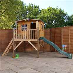 INSTALLED Apex Tower Playhouse 13ft x 7ft With Slide & Overhang - INCLUDES INSTALLATION
