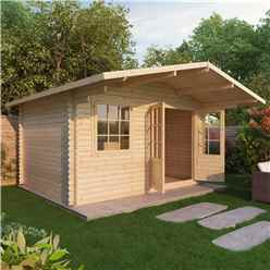 INSTALLED 4m x 3m Premier Hideaway Log Cabin (Double Glazing) + Free Floor & Felt & Safety Glass (34mm) - INCLUDES INSTALLATION