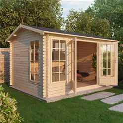 INSTALLED 4m x 3m Premier Home Office Reverse Log Cabin (Single Glazing) + Free Floor & Felt & Safety Glass (34mm) - INCLUDES INSTALLATION