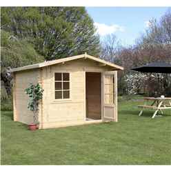 INSTALLED 3m x 2.4m Premier Apex Log Cabin (Single Glazing) + Free Floor & Felt & Safety Glass (44mm) - INCLUDES INSTALLATION