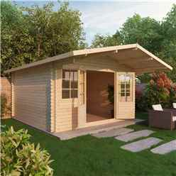 INSTALLED 4m x 4m Premier Apex + Overhang Log Cabin (Single Glazing) + Free Floor & Felt & Safety Glass (34mm) - INCLUDES INSTALLATION