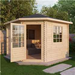 INSTALLED 3m x 3m Premier Corner Log Cabin (Double Glazing) + Free Floor & Felt & Safety Glass (44mm) - INCLUDES INSTALLATION