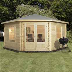 INSTALLED 4m x 4m Premier Corner Log Cabin (Single Glazing) with Large Windows + Free Floor & Felt & Safety Glass (34mm) - INCLUDES INSTALLATION
