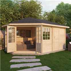 INSTALLED 5m x 3m Premier PLUS Corner Log Cabin (Single Glazing)  + Free Floor & Felt & Safety Glass (44mm) **LEFT - INCLUDES INSTALLATION