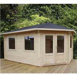 INSTALLED 5m x 3m Premier Apex GRANDE Corner Log Cabin (Double Glazing) + Free Floor & Felt & Safety Glass (28mm) - Right Door - INCLUDES INSTALLATION