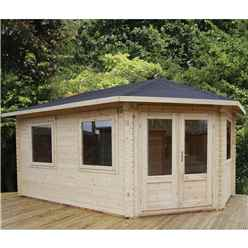 INSTALLED 5m x 3m Premier Apex GRANDE Corner Log Cabin (Single Glazing) + Free Floor & Felt & Safety Glass (34mm) - Right Door - INCLUDES INSTALLATION