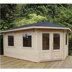 INSTALLED 5m x 3m Premier Apex GRANDE Corner Log Cabin (Double Glazing) + Free Floor & Felt & Safety Glass (34mm) - Right Door - INCLUDES INSTALLATION