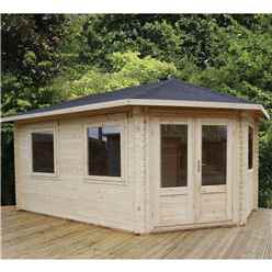 INSTALLED 5m x 3m Premier Apex GRANDE Corner Log Cabin (Single Glazing) + Free Floor & Felt & Safety Glass (44mm) - Right Door - INCLUDES INSTALLATION