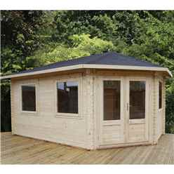 INSTALLED 5m x 3m Premier Apex GRANDE Corner Log Cabin (Double Glazing) + Free Floor & Felt & Safety Glass (44mm) - Right Door - INCLUDES INSTALLATION