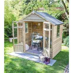 8 x 6 Oakley Pressure Treated Overlap Summerhouse - Assembled (258cm x 193cm)