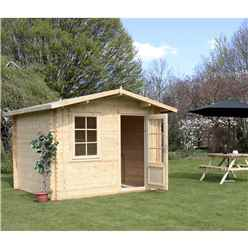 INSTALLED 3m x 2.4m Premier Apex Log Cabin (Single Glazing) + Free Floor & Felt & Safety Glass (34mm) - INCLUDES INSTALLATION