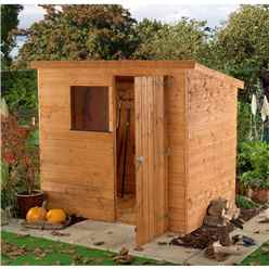 INSTALLED 6 x 4 Tongue and Groove Garden Pent Shed With 1 Window And Single Door (10mm Solid OSB Floor) - INCLUDES INSTALLATION