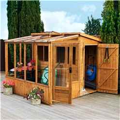 INSTALLED 8 x 8 Premier Wooden Tongue and Groove Combi Pent Garden Shed With 2 Single Doors And Greenhouse (12mm Tongue and Groove Floor and Roof) INCLUDES INSTALLATION