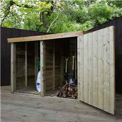 INSTALLED 3 x 6 Pressure Treated Overlap Double Storage Unit With Single Door (3'3 x 6'2) INCLUDES INSTALLATION