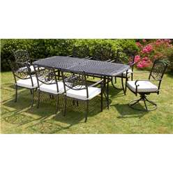 8 Seater Versailles Rectangular Swivel Set - 214 x 108cm Rectangular Table with 2 Swivel Chairs and 6 Stacking Chairs incl. cushions - Free Next Working Day Delivery (Mon-Fri) - New
