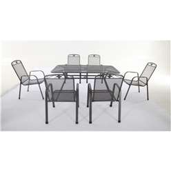 6 Seater Savoy Rectangular Dining Set - 160 x 90cm Rectangular Table with 6 Stacking Savoy Chairs- Free Next Working Day Delivery (Mon-Fri)