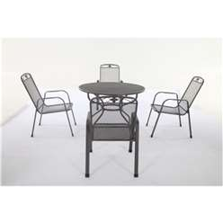 4 Seater Savoy Dining Set - 105cm Round Table with 4 Stacking Savoy Chairs - Free Next Working Day Delivery (Mon-Fri)