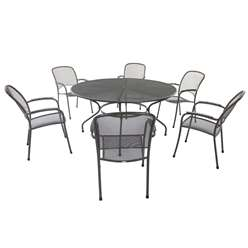 6 Seater RG Carlo Round Dining Set - 150cm Round Table with 6 Stacking Carlo Chairs