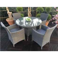 4 Seater MADISON Round Dining Set - 110cm Round Table with 4 Carver Chairs incl. cushions