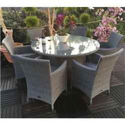6 Seater MADISON Round Dining Set - 140cm Round Table with 6 Carver Chairs incl. cushions