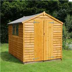 **FLASH REDUCTION** 8 x 6 Overlap Value Apex Wooden Garden Shed With 2 Windows And Double Doors (10mm Solid OSB Floor) - 48HR + SAT Delivery*