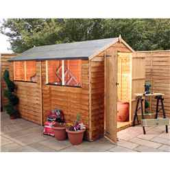 10 x 6 Value Overlap Apex Wooden Shed With 4 Windows And Double Doors (10mm Solid OSB Floor) - 48HR + SAT Delivery*
