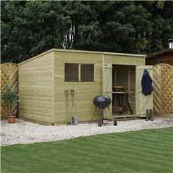 INSTALLED 14 x 8 Pressure Treated Tongue and Groove Pent Shed (10mm solid OSB Floor) INCLUDES INSTALLATION