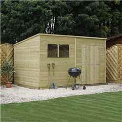 INSTALLED 12 x 7 Pressure Treated Tongue and Groove Pent Shed (10mm solid OSB Floor) INCLUDES INSTALLATION