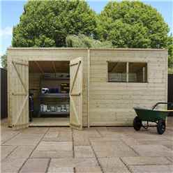 INSTALLED 14 x 6 Pressure Treated Tongue and Groove Pent Shed (10mm solid OSB Floor) INCLUDES INSTALLATION