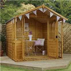 7 x 7 Premier Wooden Garden Summerhouse (1/2 Styrene Glazed Doors) (10mm Solid OSB Floor) - 48HR + SAT Delivery*