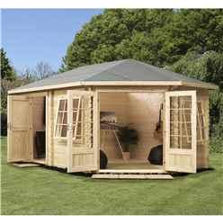 5m x 3m Premier PLUS Corner Log Cabin (Single Glazing) + Free Floor & Felt & Safety Glass (28mm) **RIGHT
