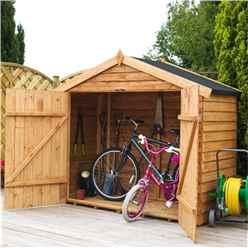 Bike Store 7 x 3 Value Wooden Overlap with Double Doors(10mm OSB Floor) - 48HR + SAT Delivery*