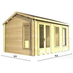 4.5m x 3.5m Log Cabin (2076) - Double Glazing (34mm Wall Thickness)