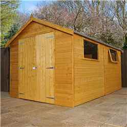 12 x 8 Deluxe Wooden Garden Workshop With 2 Windows And Double Doors (12mm Tongue and Groove Floor and Roof) - 48HR + SAT Delivery*