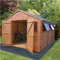20 x 10 Deluxe Tongue and Groove Wooden Garden Workshop With 5 Windows And Double Doors,** Extra Side Door ** (12mm Tongue and Groove Floor and Roof) - 48HR + SAT Delivery*