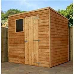 7 x 5 Value Wooden Overlap Pent Garden Shed With 1 Window And Single Door (10mm Solid OSB Floor) - 48HR + SAT Delivery*