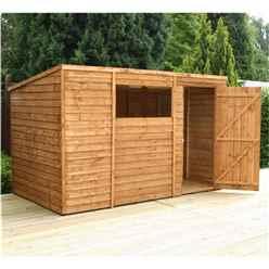 10 x 6 Value Wooden Overlap Pent Garden Shed With 1 Window And Single Door (10mm Solid OSB Floor) - 48HR + SAT Delivery*
