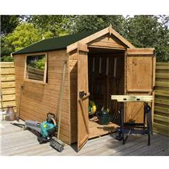 6 x 6 Premier Wooden Tongue and Groove Apex Garden Shed With 1 Window And Double Doors (12mm Tongue and Groove Floor and Roof) - 48HR + SAT Delivery*